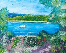 "Mirabella ""Untitled"" Sailboat Scene Oil Painting"