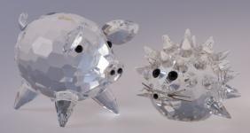 Swarovski Crystal Pig & Hedgehog Pair