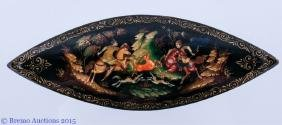 "Palekh Russian Lacquer Box, ""Hunting"""