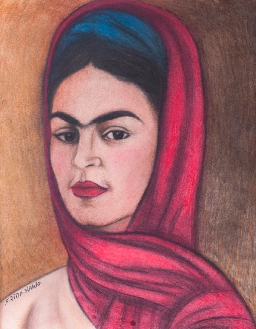 Frida Kahlo Self Portrait Pastel & Charcoal