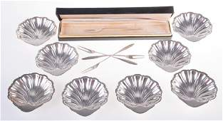 Sterling Escargot Forks with Nut Dishes
