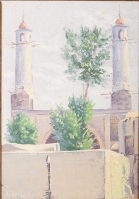Sarkis Sarkisian Mosque Facade Oil on Board 1945