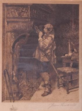 "Paul-Adolphe Rajon ""Petruchio"" Etching 19th C"