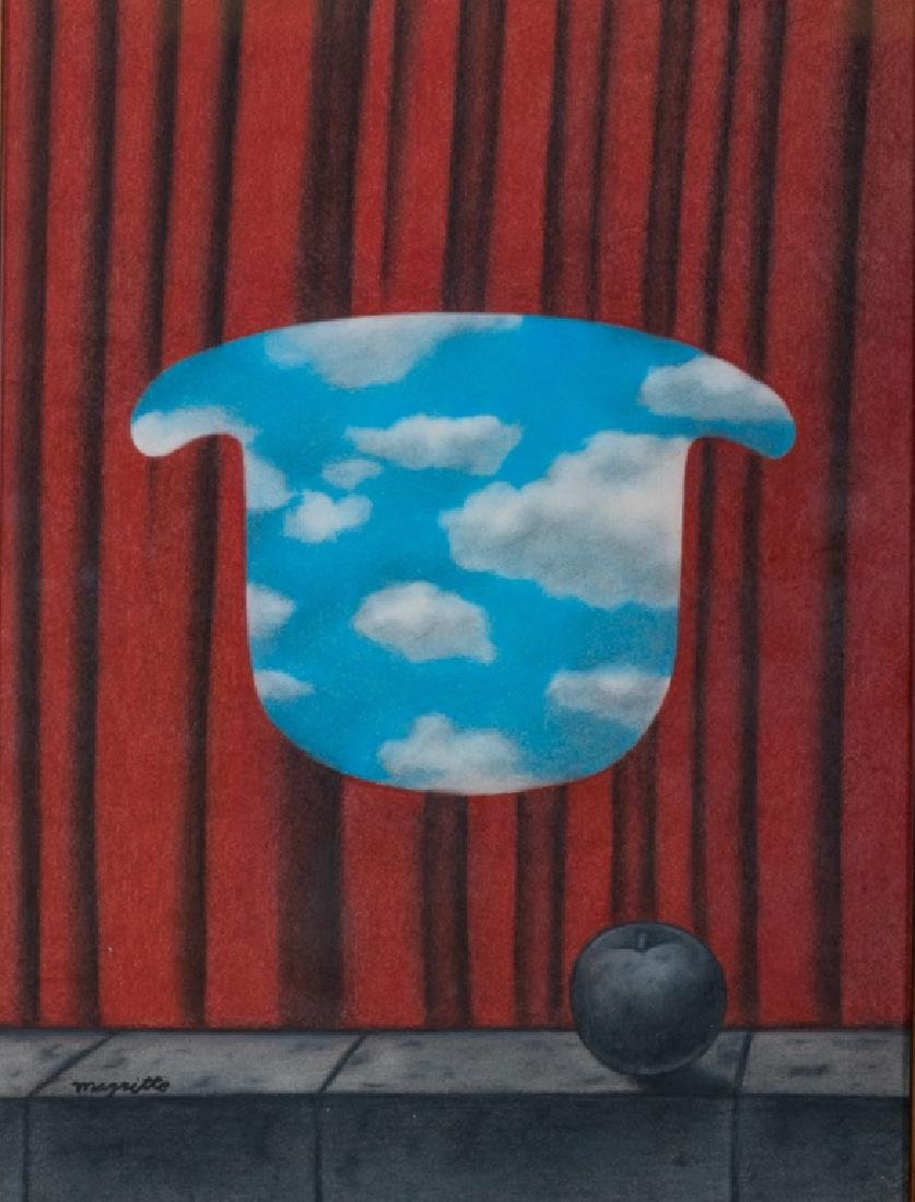 Rene Magritte Pastel On Paper Untitled, Hat Series