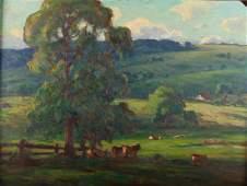 Eliot Clark Virginia Farm Landscape Oil on Board