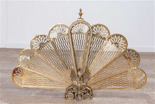 Brass Fan Shaped Fireplace Screen