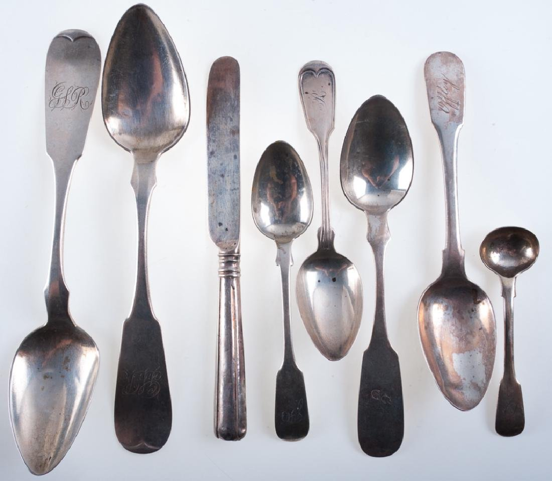 American & English Coin Silver Flatware Group (8)