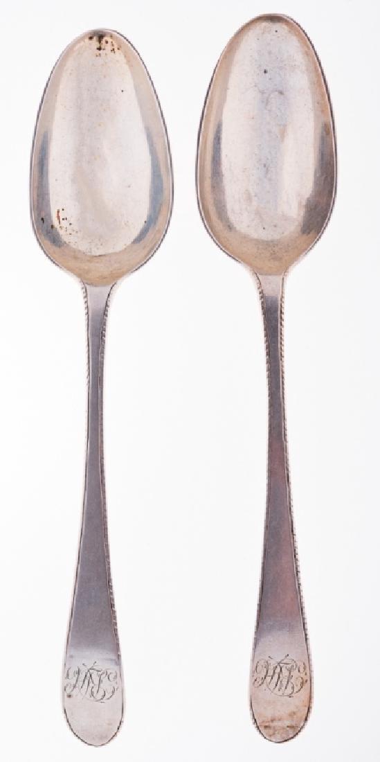 Coin Silver John Lyng C. 1761 Table Spoons Pair