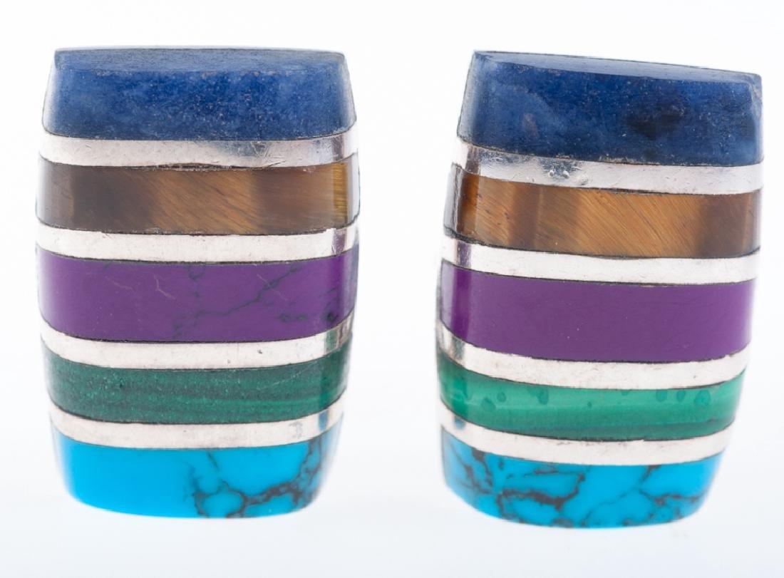 Vintage Taxco Inlaid Stone & Sterling Earrings Pair