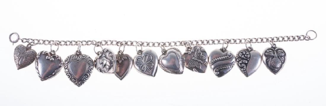 Vintage Sterling Puffy Heart Charm Bracelet