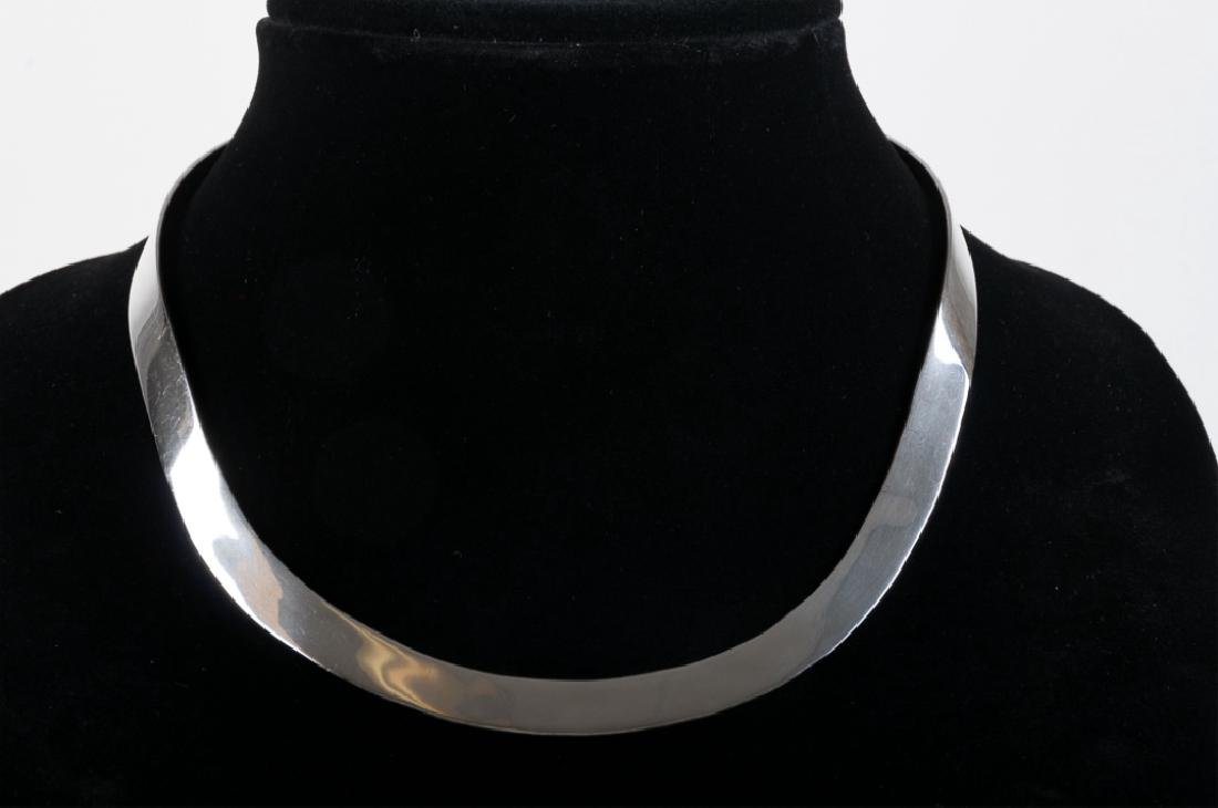 Mexican Sterling Flat Closed Collar Necklace