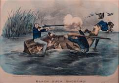 Currier  Ives Black Duck Shooting Lithograph