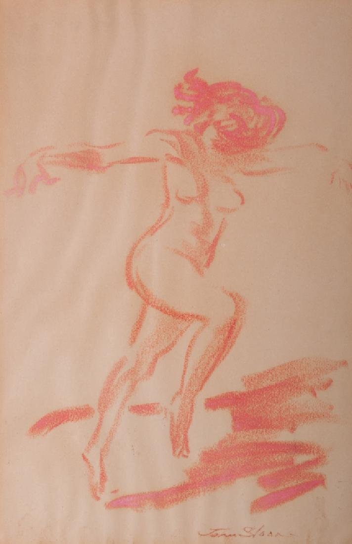 "John Sloan ""Nude Dancer"" Pastel On Paper"