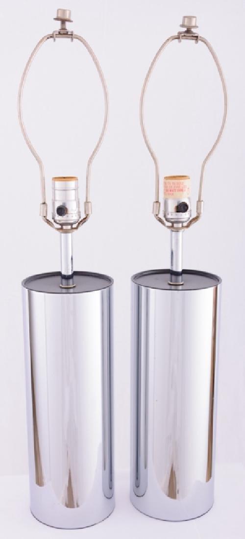 Robert Sonneman Chrome Cylinder Tube Lamps