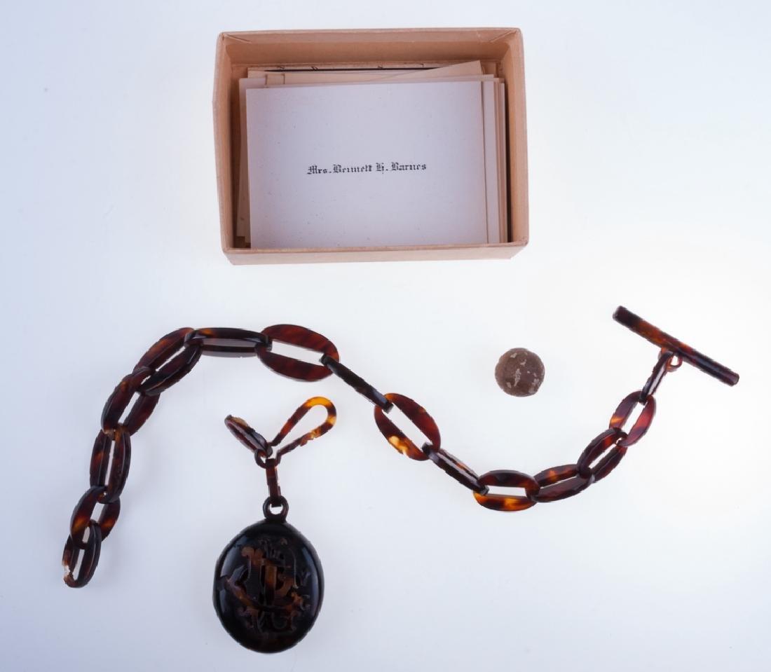 Tortoiseshell Locket Watch Fob & Chain, 19th C
