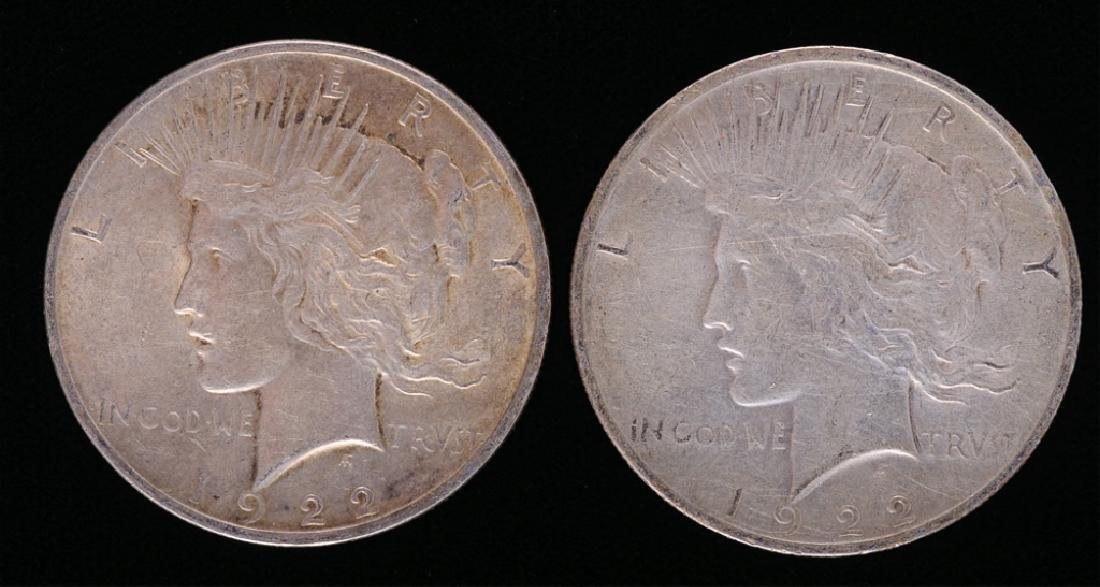 1922 Peace Silver Dollars, Two (2)
