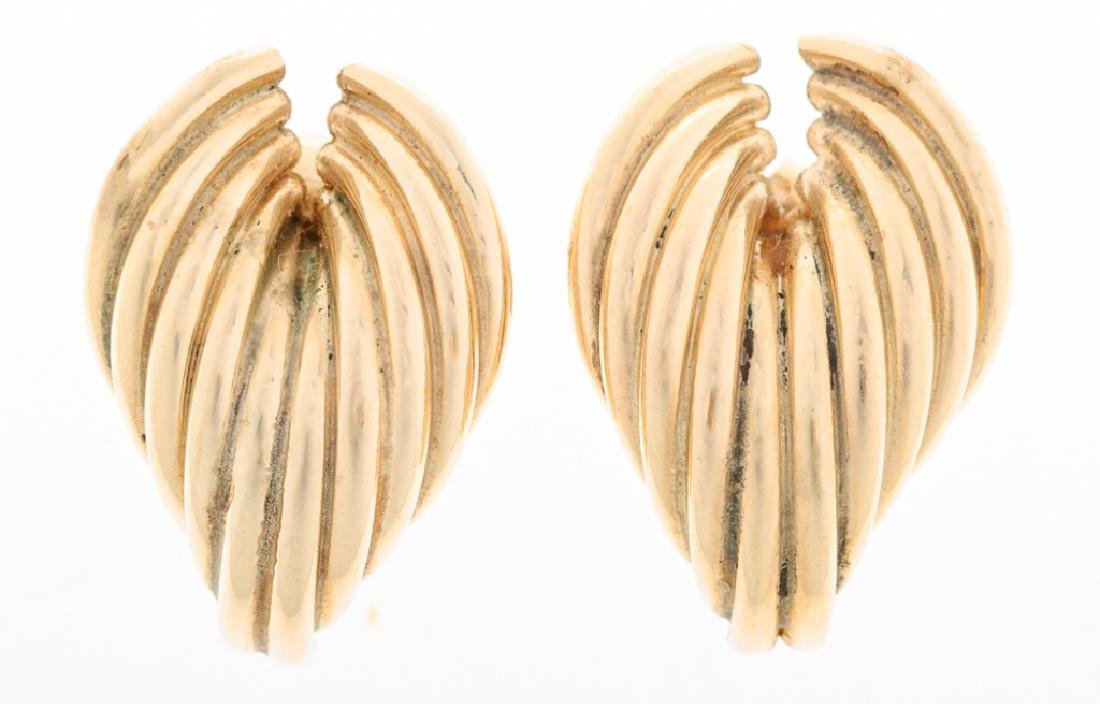 Fluted Swirl 14K Yellow Gold Post Earrings