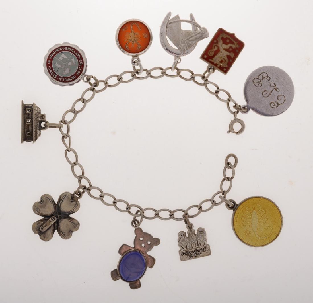 Vintage Sterling Charm Bracelet, Barnes Estate