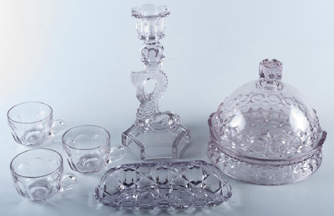 Lavender Pressed Glass Group of Six (6)
