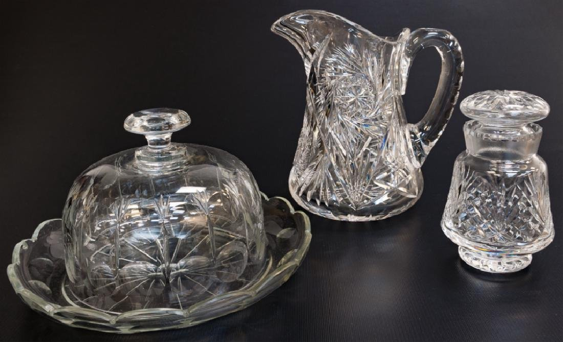 American Brilliant Pd. Cut Glass Pitcher & Others