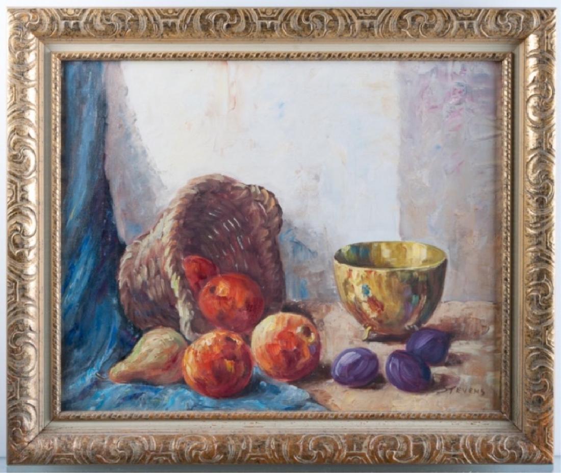 Stevens Still Life with Basket Oil on Canvas