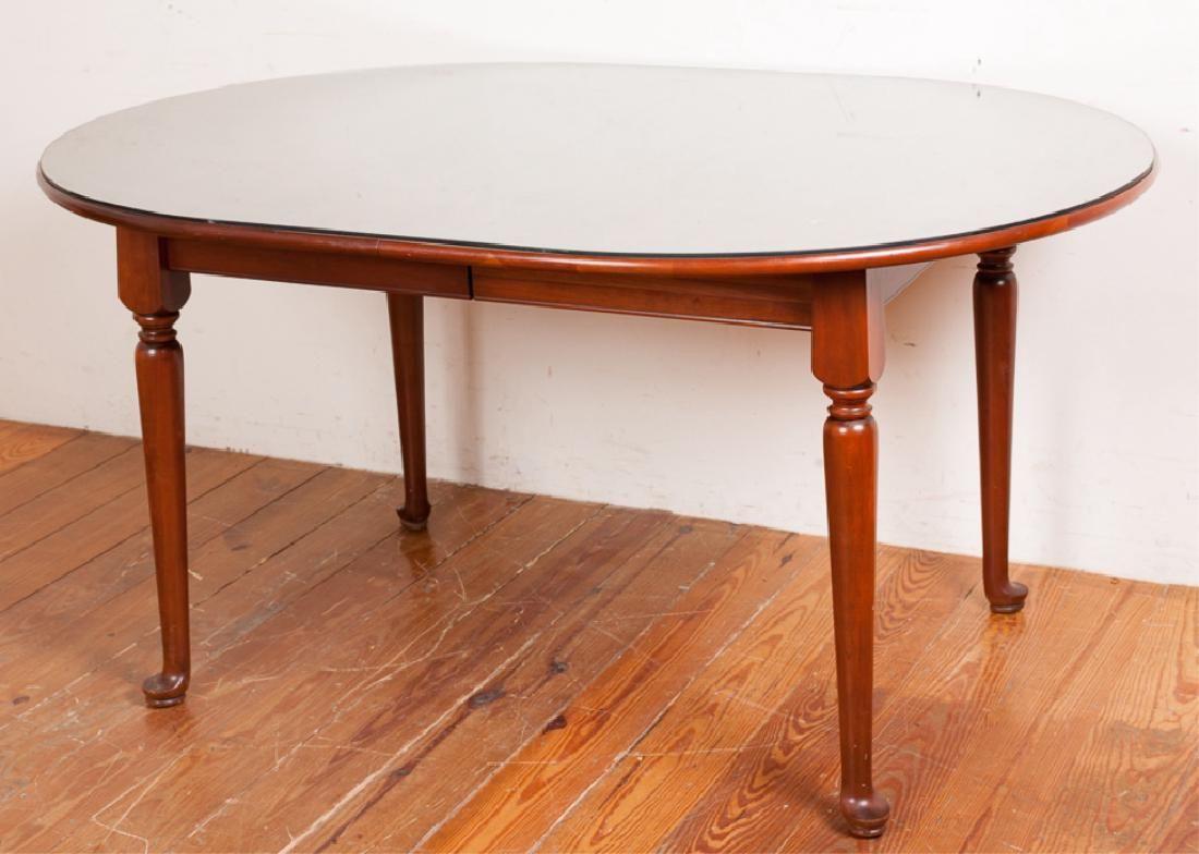 Henkel Harris Oval Dining Table w Custom Glass Top