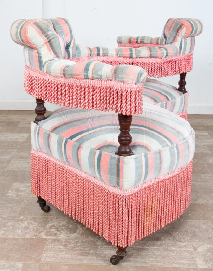Victorian Upholstered Tete-a-Tete - 3