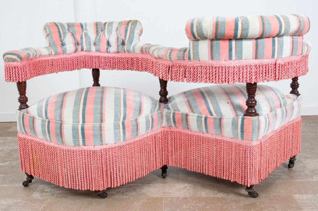 Victorian Upholstered Tete-a-Tete - 4