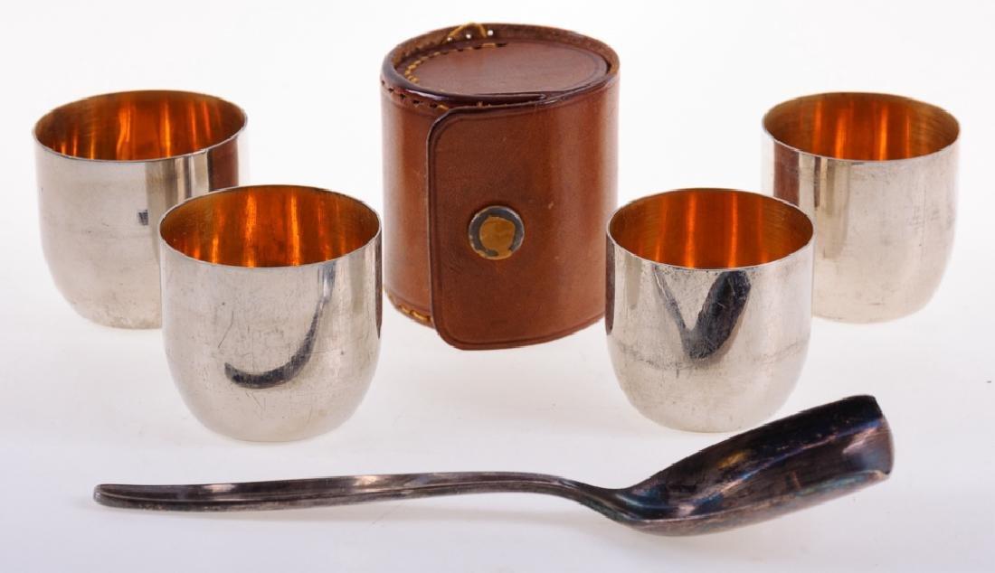German Travel Shot Glass Set & WMF Sugar Spoon
