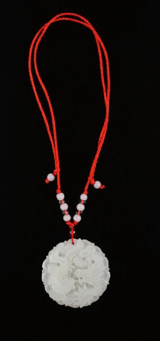 White Stone Hand Carved Pendant - 3