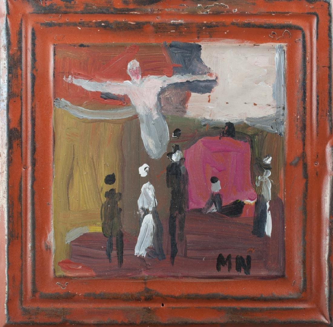 Outsider Art Painting on Tin Panel