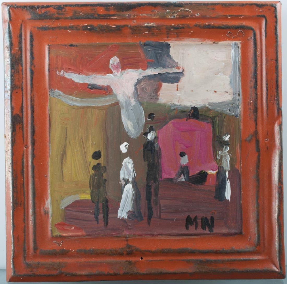 Outsider Art Painting on Tin Panel - 2