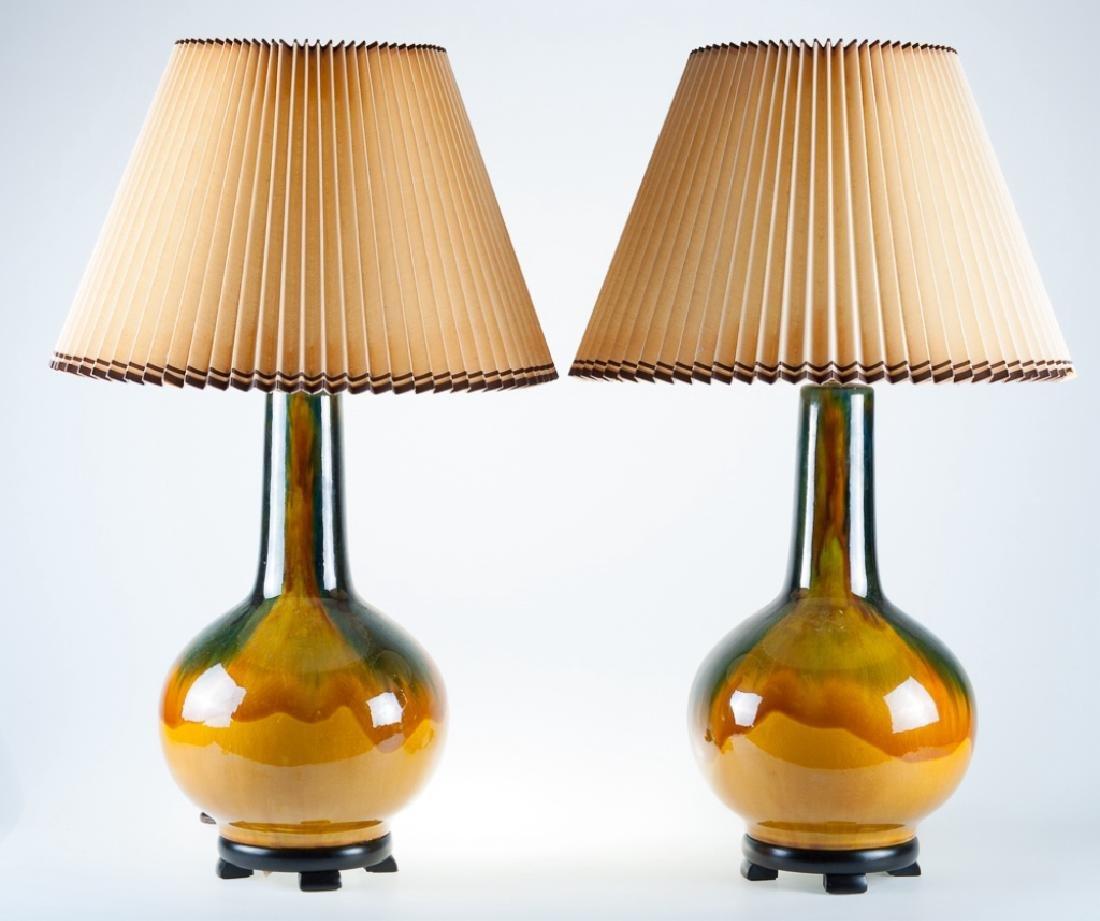 Drip Glaze Lamps Pair