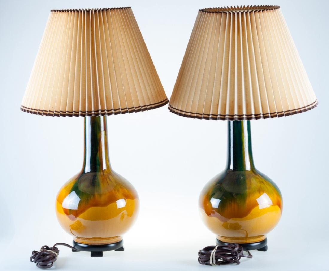 Drip Glaze Lamps Pair - 3