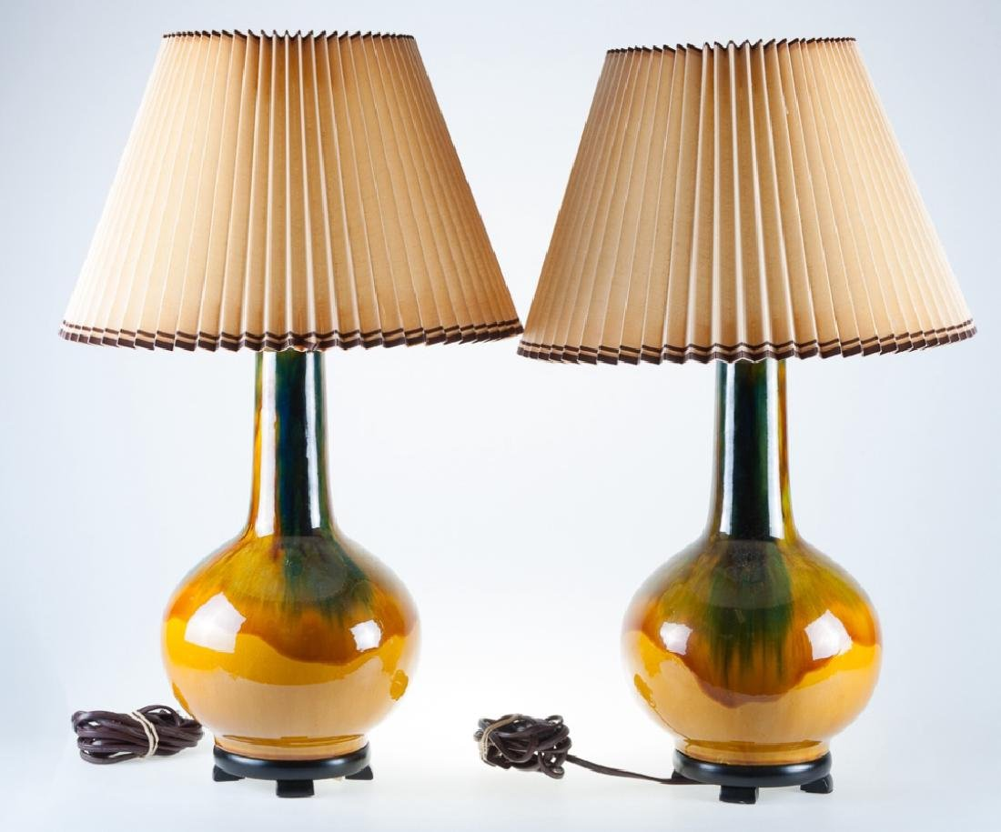 Drip Glaze Lamps Pair - 4