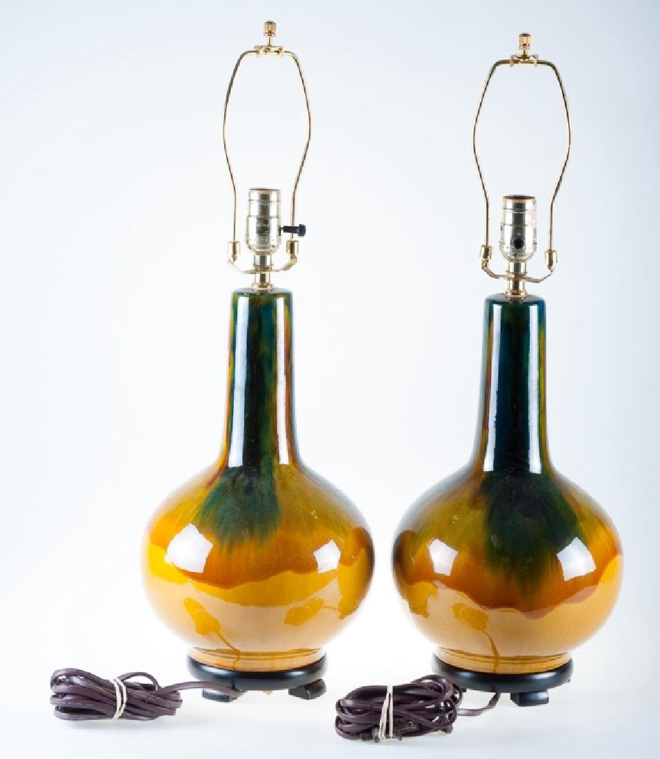 Drip Glaze Lamps Pair - 5