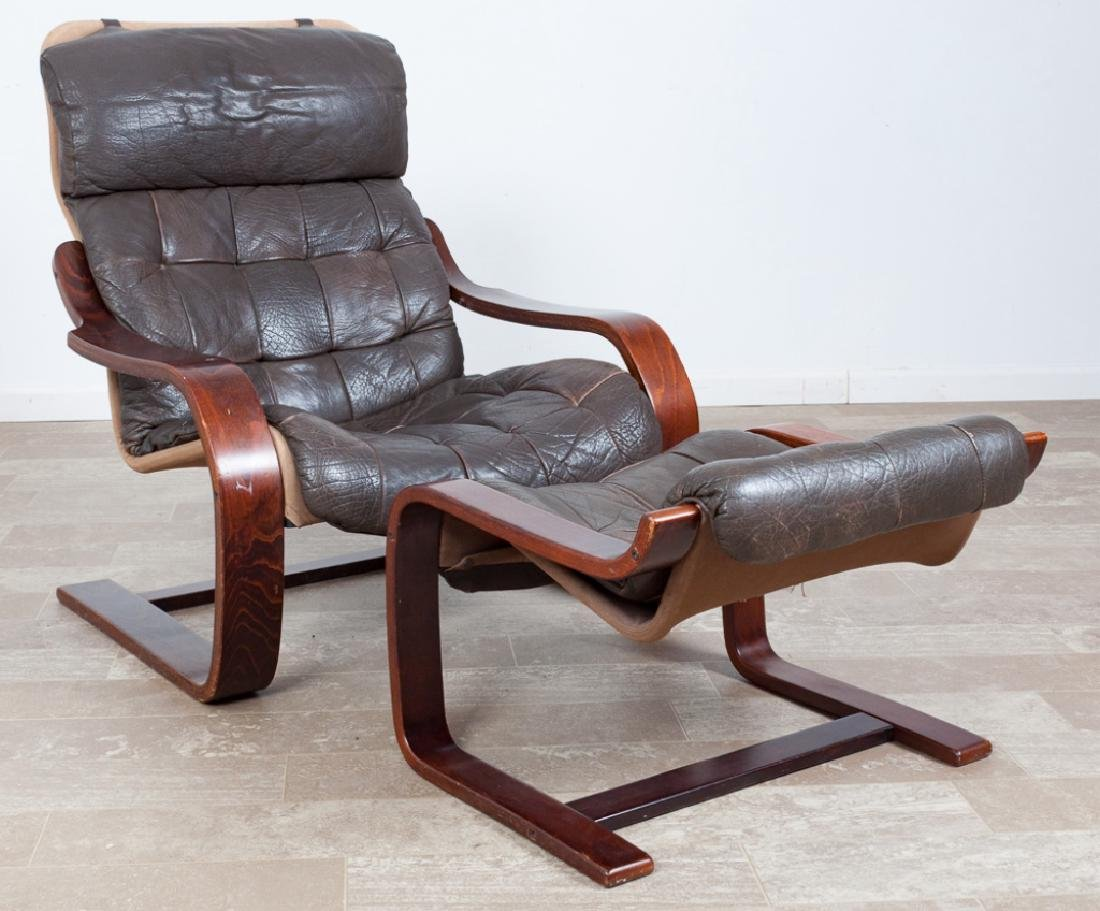 Leather Westnofa Style Cantilever Chair & Ottoman