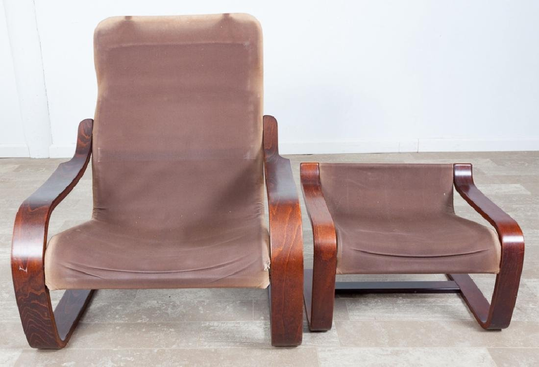 Leather Westnofa Style Cantilever Chair & Ottoman - 2