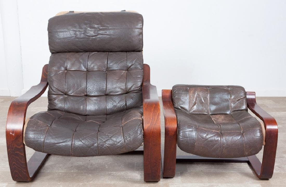 Leather Westnofa Style Cantilever Chair & Ottoman - 4