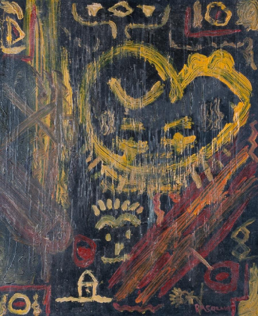 Basquiat Abstract Abstract Oil & Wax On Canvas