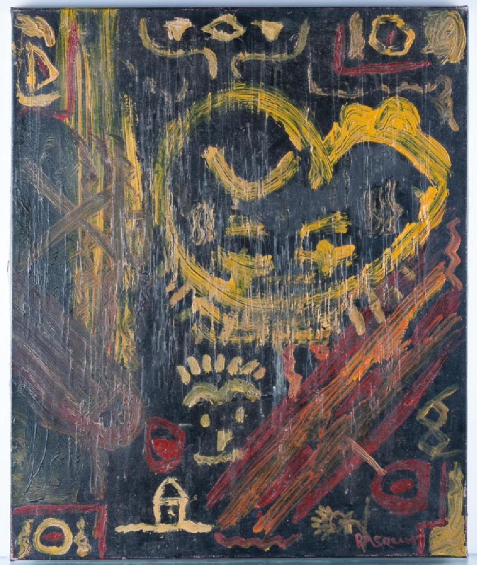 Basquiat Abstract Abstract Oil & Wax On Canvas - 2