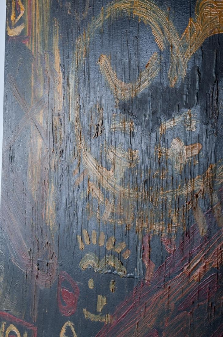 Basquiat Abstract Abstract Oil & Wax On Canvas - 4