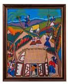 Montas Antoine Haitan Village Scene Oil on Board