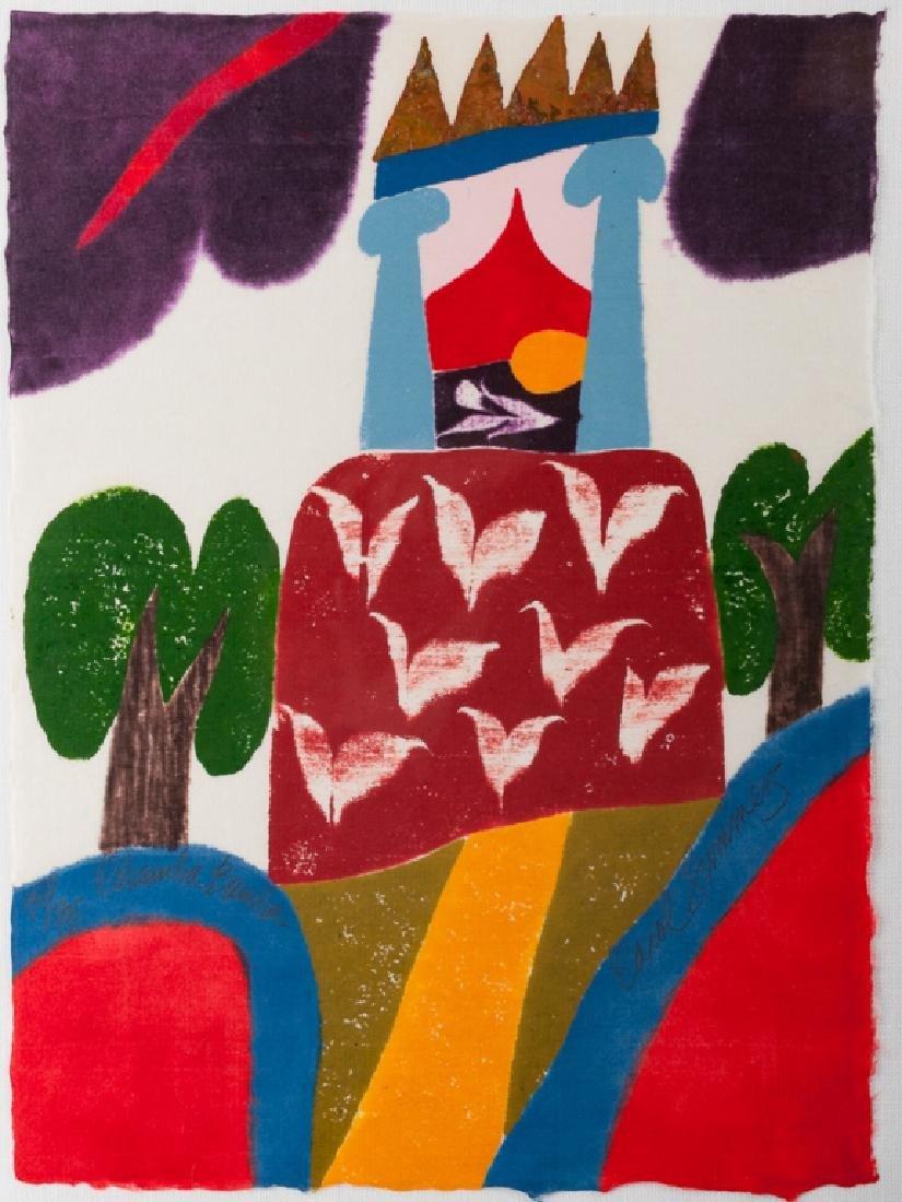"""Carol Summers """"Chamba-Bamba"""" Woodcut 51/75 2004"""