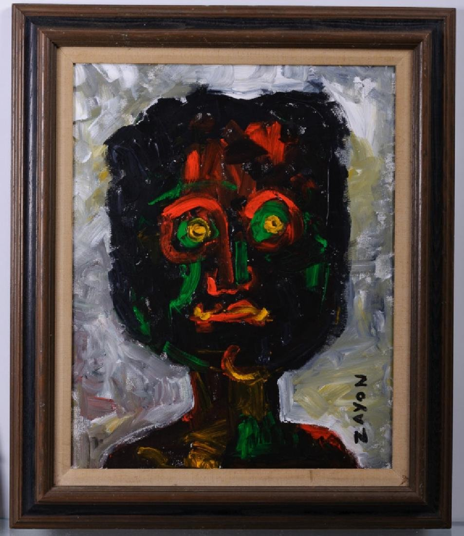Seymour Zayon Abstract Portrait Acrylic on Canvas