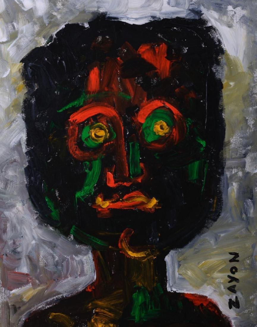 Seymour Zayon Abstract Portrait Acrylic on Canvas - 2