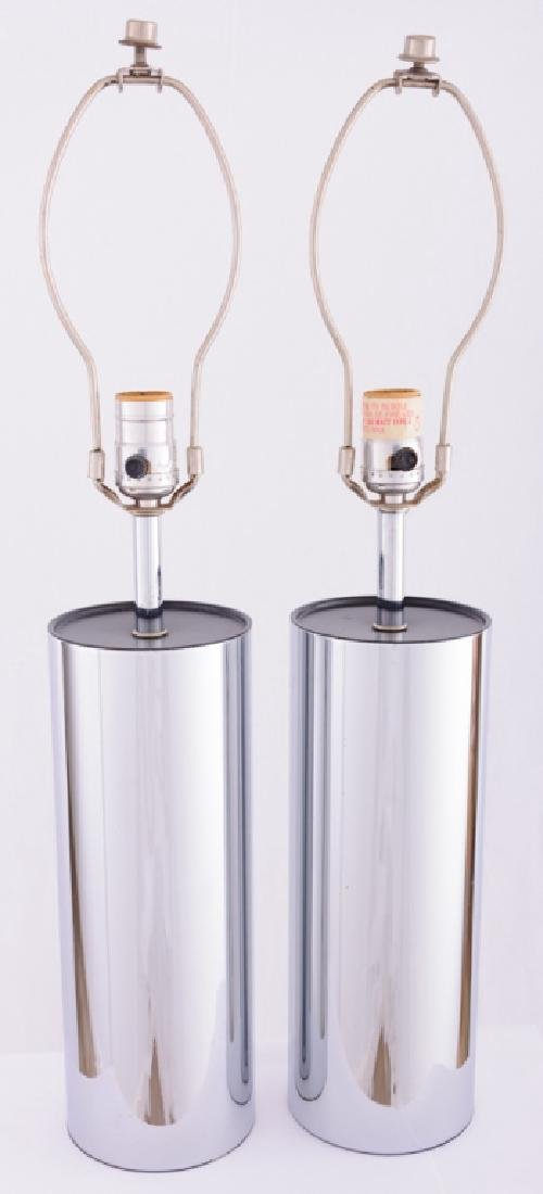 Robert Sonneman Chrome Cylinder Tube Lamps