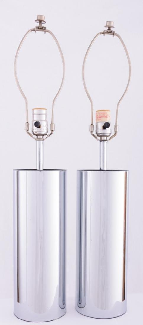 Robert Sonneman Chrome Cylinder Tube Lamps - 2