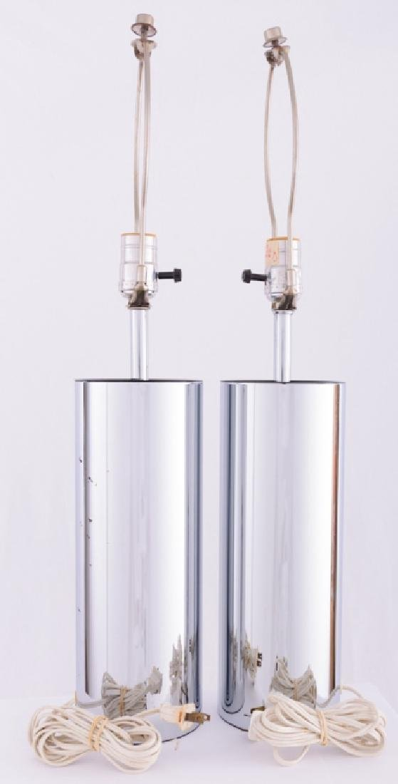 Robert Sonneman Chrome Cylinder Tube Lamps - 3