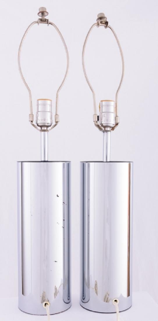 Robert Sonneman Chrome Cylinder Tube Lamps - 4